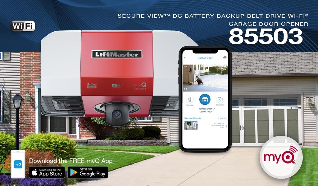 Liftmaster Secure View™ DC Battery BackupBelt Drive Wi-Fi® Garage Door Opener